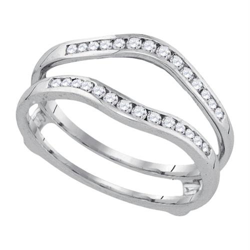 14k White Gold Womens Round Diamond Wedding Bridal Enhancer Band Wrap 1.00 Cttw