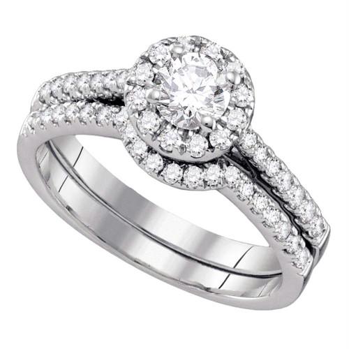 14kt White Gold Womens Round Diamond Halo Bridal Wedding Engagement Ring Band Set 1/2 Cttw