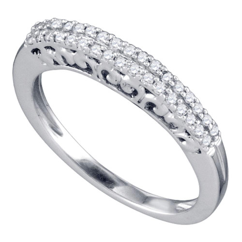10k White Gold Round Pave-set Diamond Womens Slender Bridal Wedding Band 1/5 Cttw