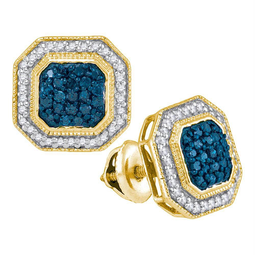 10kt Yellow Gold Womens Round Blue Color Enhanced Diamond Octagon Frame Cluster Earrings 1/2 Cttw