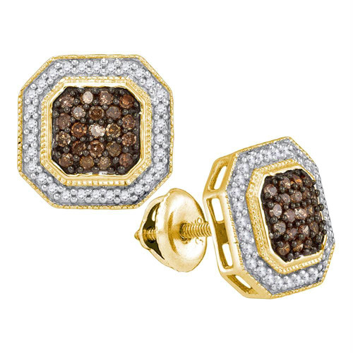10K Yellow Gold Cognac Brown Enhanced Color Enhanced Diamond Octagon Stud Earring 1/2CT