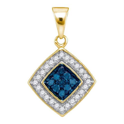 10kt Yellow Gold Womens Round Blue Color Enhanced Diamond Diagonal Square Pendant 1/4 Cttw