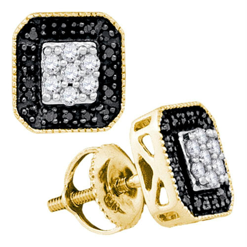 10kt Yellow Gold Womens Round Black Color Enhanced Diamond Square Frame Cluster Earrings 1/4 Cttw
