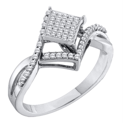 10kt White Gold Womens Round Diamond Square Cluster Bridal Wedding Engagement Ring 1/4 Cttw - 55948