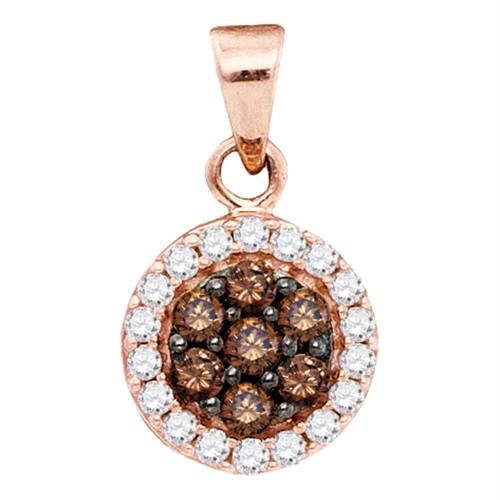 10kt Rose Gold Womens Round Cognac-brown Color Enhanced Diamond Flower Cluster Pendant 3/8 Cttw