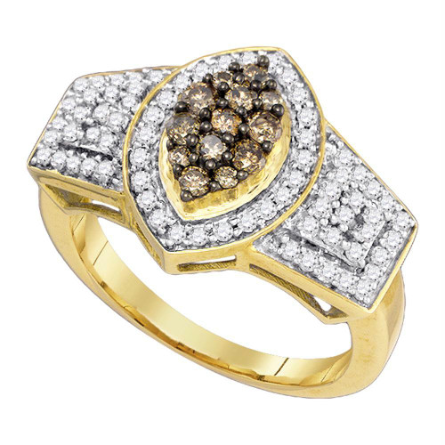 10k Yellow Gold Womens Cognac-brown Color Enhanced Diamond Oval-shape Cluster Ring 3/4 Cttw