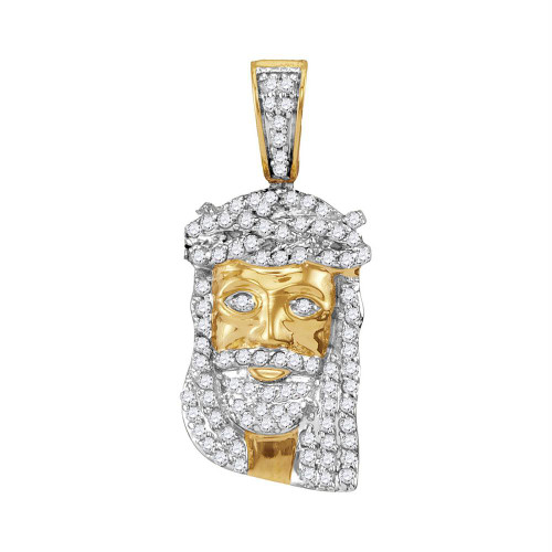 10kt Yellow Gold Mens Round Diamond Small Jesus Christ Messiah Head Charm Pendant 1/3 Cttw
