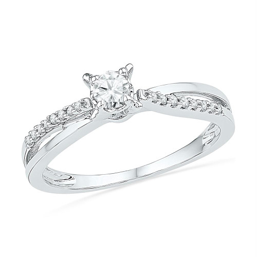 10kt White Gold Womens Round Diamond Solitaire Crossover Promise Bridal Ring 1/4 Cttw - 100758-7.5