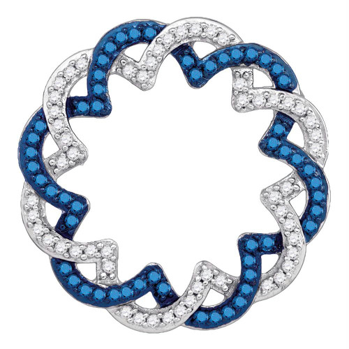 10kt White Gold Womens Round Blue Color Enhanced Diamond Circle Pendant 1/3 Cttw