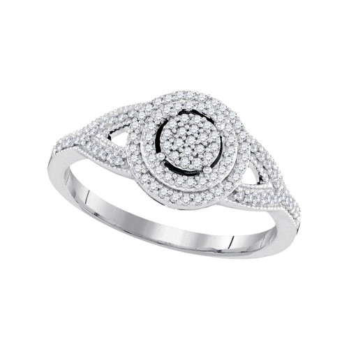 10kt White Gold Womens Round Diamond Circle Cluster Bridal Wedding Engagement Ring 1/4 Cttw - 98442-8