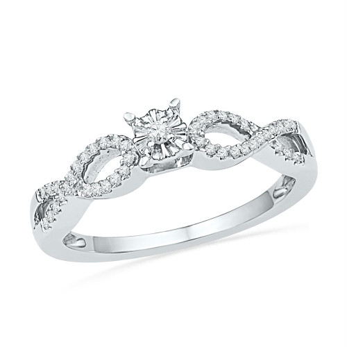 10kt White Gold Womens Round Diamond Solitaire Twist Promise Bridal Ring 1/6 Cttw - 100703-9