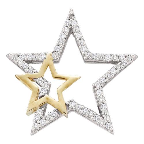 10kt White Two-tone Gold Womens Round Diamond Yellow Star Pendant 1/6 Cttw