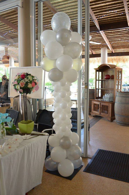 White & Silver Wedding Column