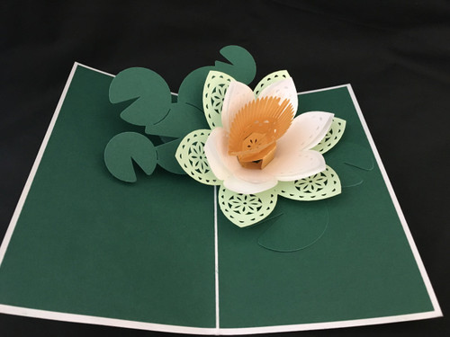 Water Lilly Handmade 3D Kirigami card