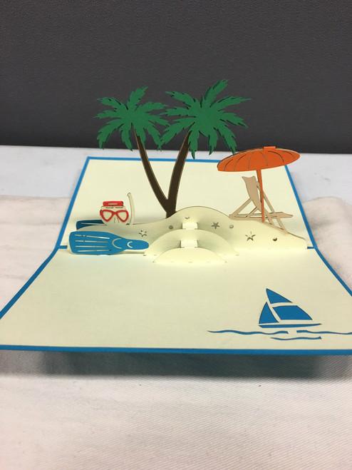 Beach Handmade 3D Kirigami card