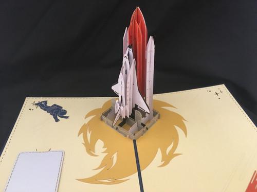 Shuttle Blue Handmade 3D Kirigami Card