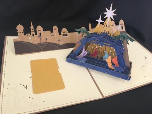 Nativity Tan Handmade 3D Kirigami Card