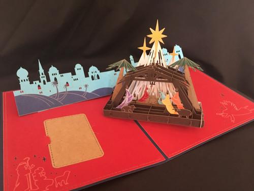 Nativity Blue Handmade 3D Kirigami Card