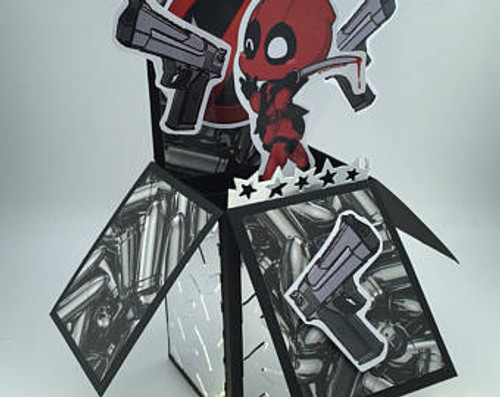 DeadPool  All Boxed Up  3D Pop Up Card  6 X 4 with envelope
