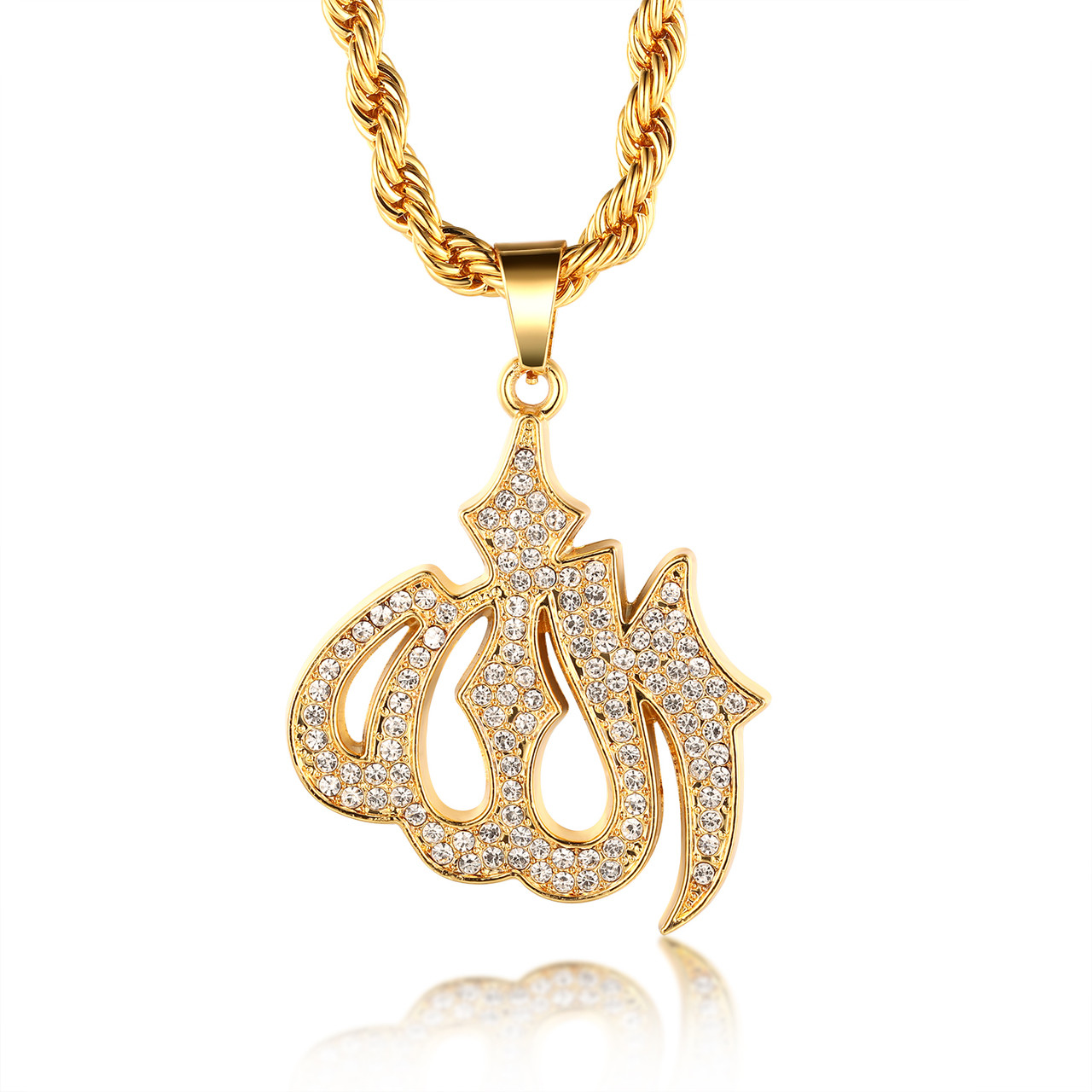 Gold bless all 18k real gold plated allah islam pendant necklace halukakah gold bless all 18k real gold plated allah islam pendant necklace with free rope chain aloadofball