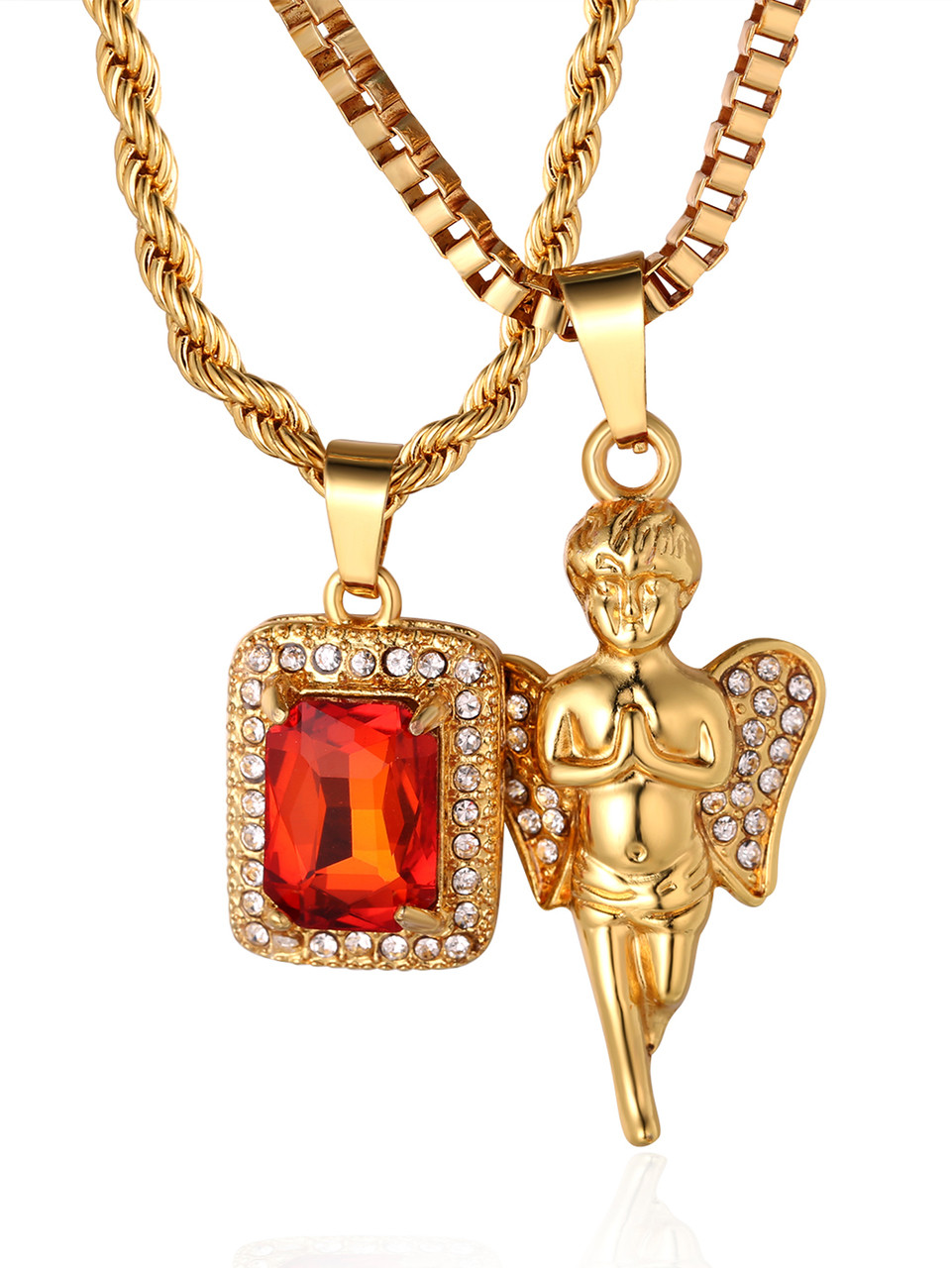Halukakah gold bless all mens 18k real gold plated angel ruby halukakah gold bless all mens 18k real gold plated angel ruby pendant necklace 2 chains set mozeypictures Choice Image
