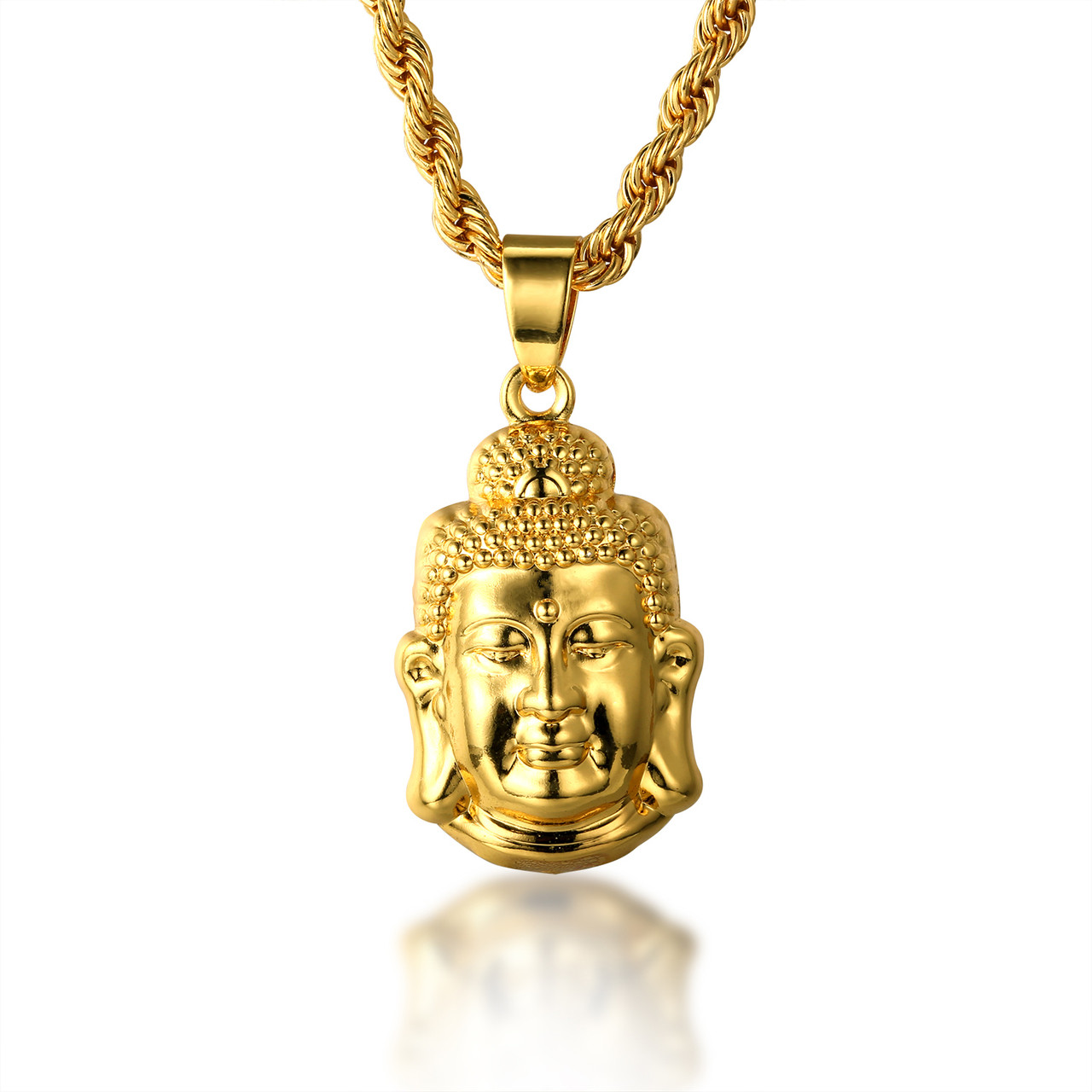 Halukakah gold bless all 18k real gold plated 3d buddha pendant halukakah gold bless all 18k real gold plated 3d buddha pendant necklaceuble facedwith free mozeypictures Image collections