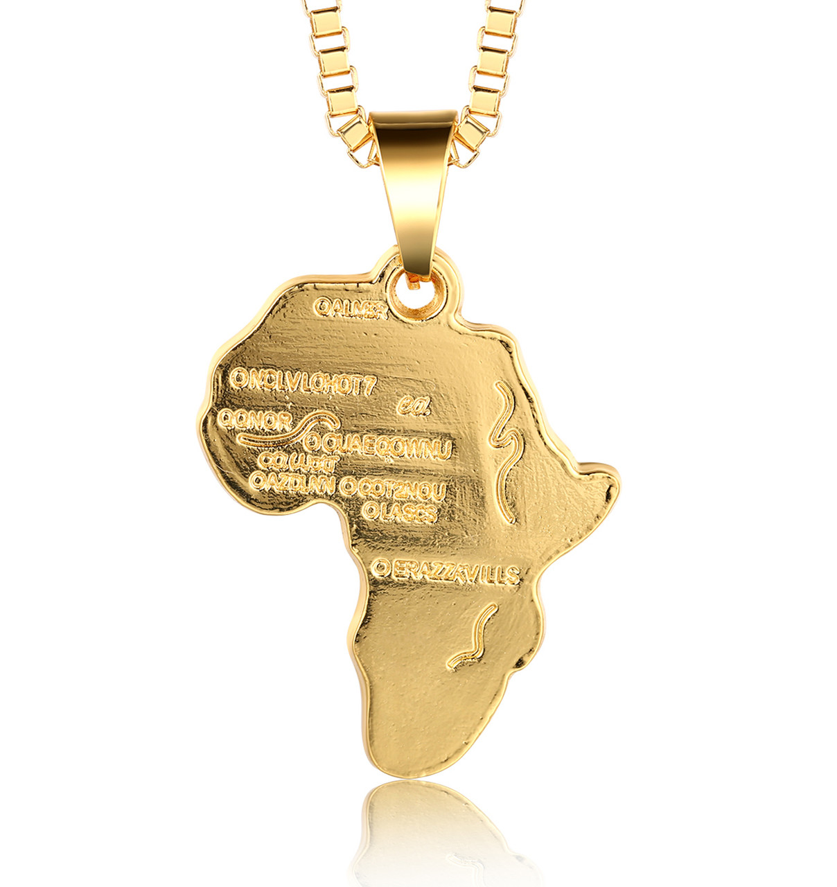 Halukakah AFRICA MAP 18k Real Gold Plated Pendant NecklaceCz