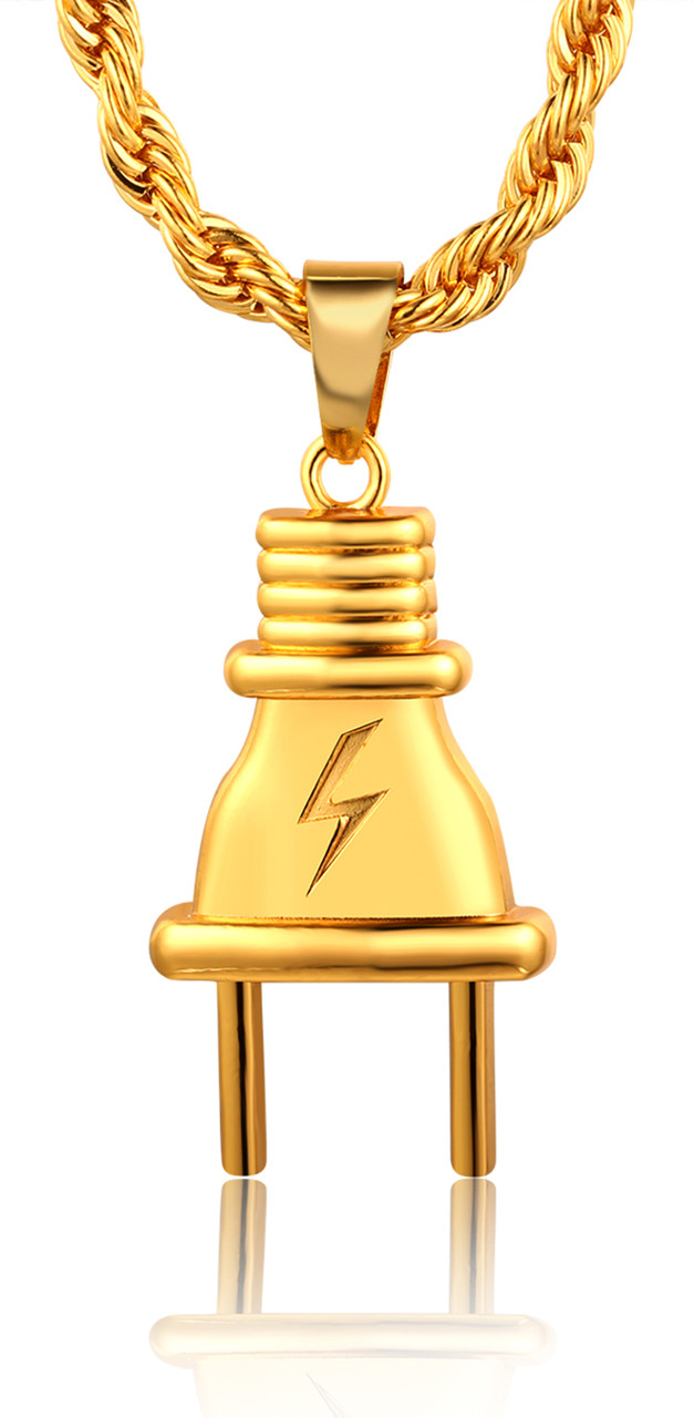 Halukakah EMPIRE Mens 18k Stamp Real Gold Plated Plug Pendant Necklace With Rope Chain