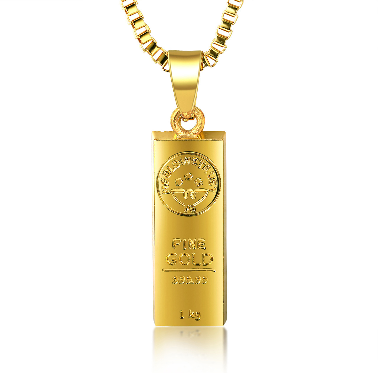 Halukakah in gold we trust mens 18k gold plated gold bar pendant halukakah in gold we trust mens 18k gold plated gold bar pendant necklace with free box aloadofball Image collections