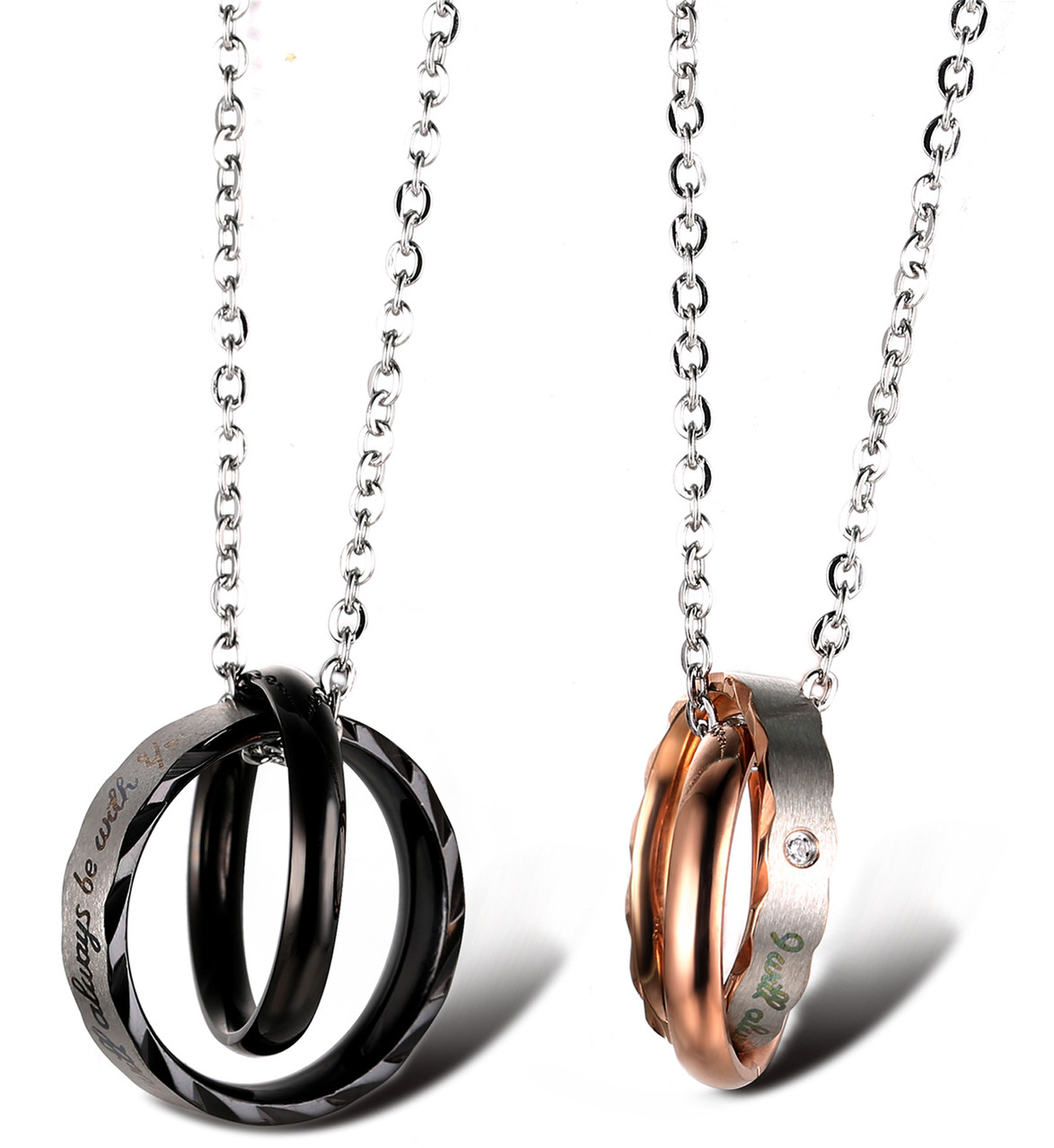 titanium s couples golden gun couple be ring necklace always black you halukakah i chain pendant with will rose