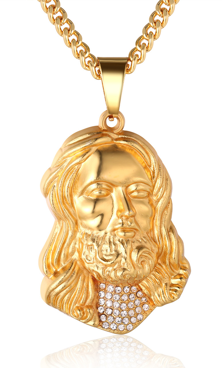 Halukakah gold bless all mens 18k real gold plated jesus halukakah gold bless all mens 18k real gold plated jesus pendant necklace with free aloadofball Choice Image