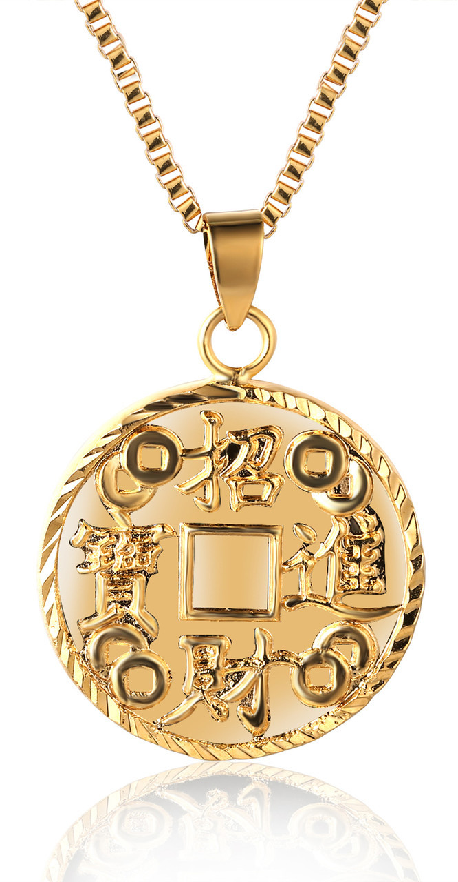 Gold bless all mens 18k real gold plated kanji amass wealth halukakah gold bless all mens 18k real gold plated kanji amass wealth treasure pendant necklace with aloadofball