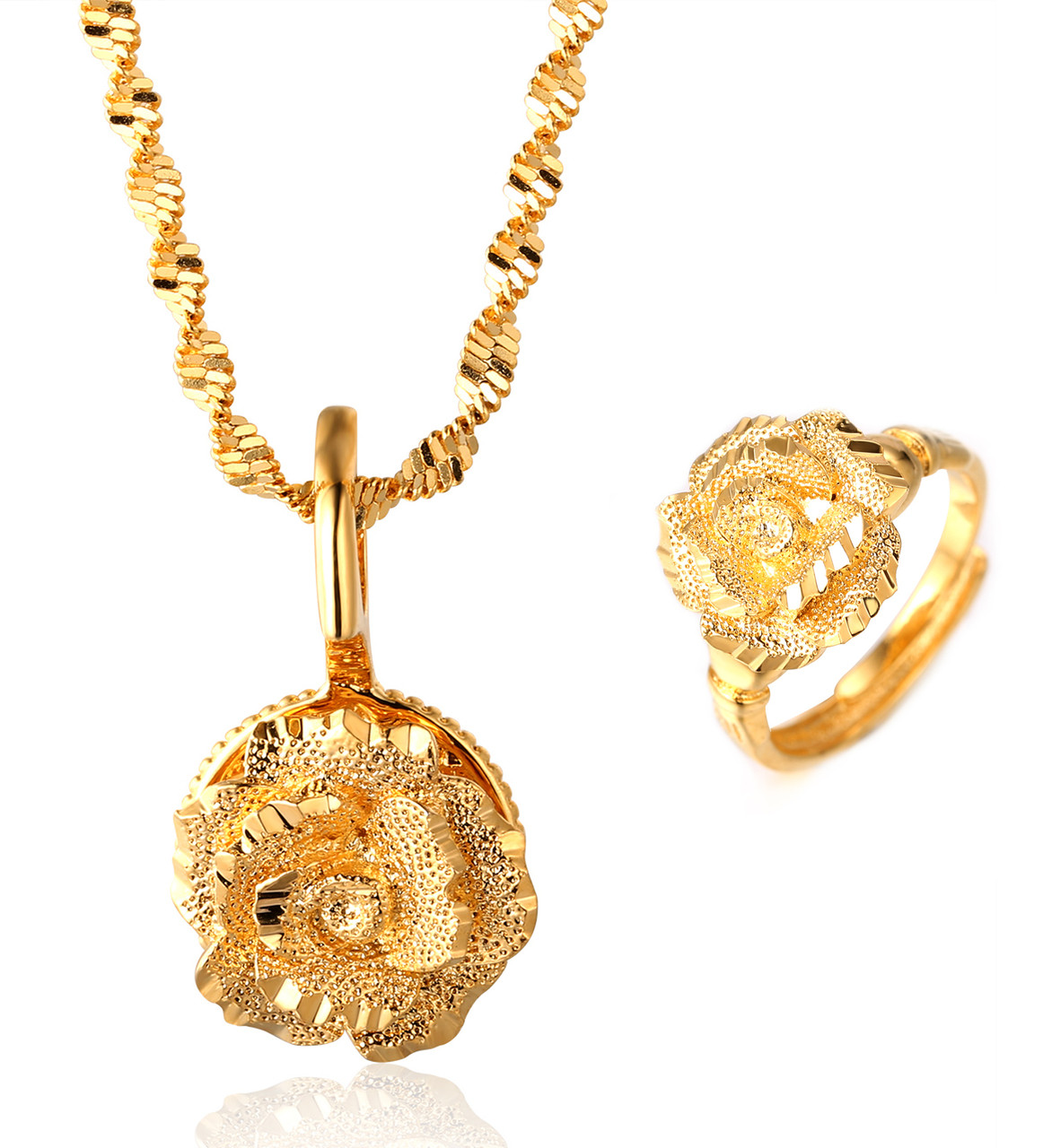 GOLD BLESS ALL Womens 18k Real Gold Plated Rotatable Flower