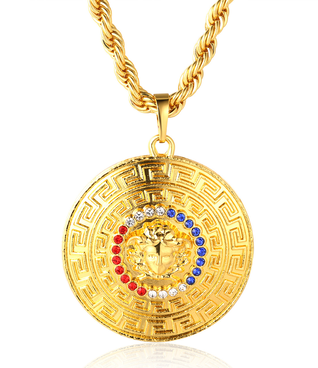 necklace lg gold pendant engravable the diamond oval large george dragon medallion prayer solid yellow and saint