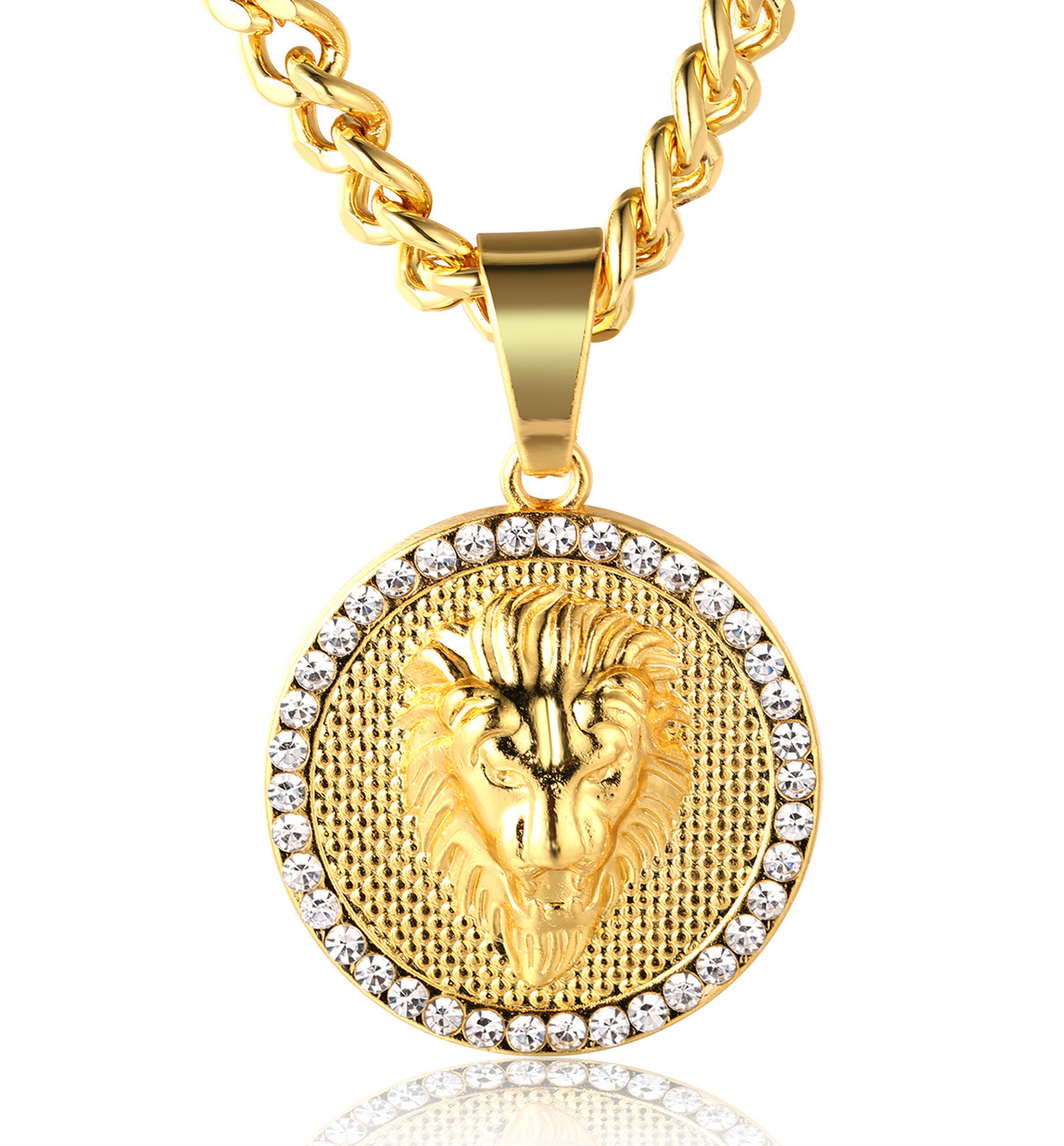 Kings landing mens 18k real gold plated lion medallion pendant halukakah kings landing mens 18k real gold plated lion medallion pendant necklacewith free cuban chain 30 aloadofball Choice Image