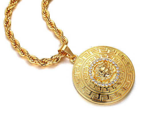Halukakah medusa mens 18k stamp real gold plated 3d pendant halukakah medusa mens 18k stamp real gold plated 3d pendant necklace with free rope aloadofball Images