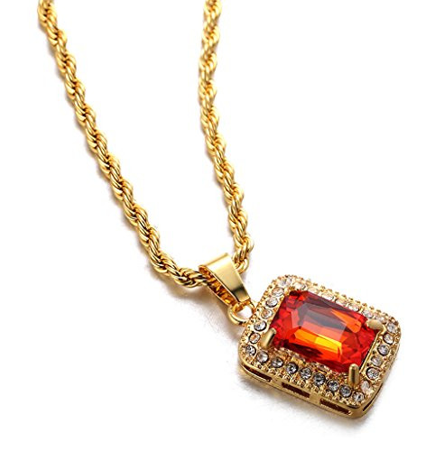 Halukakah gold bless all mens 18k real gold plated ruby pendant halukakah gold bless all mens 18k real gold plated ruby pendant necklace with free rope chain mozeypictures Choice Image