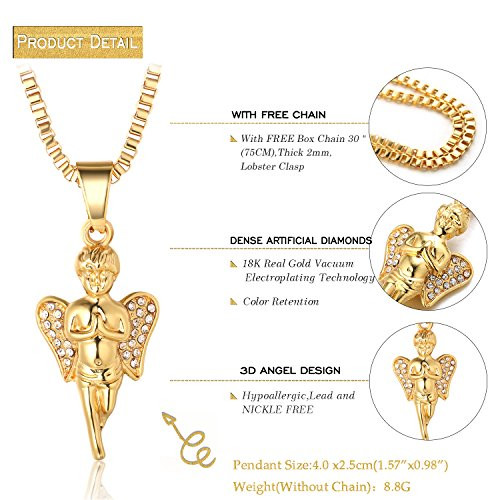 Halukakah gold bless all mens 18k real gold plated angel pendant halukakah gold bless all mens 18k real gold plated angel pendant necklace with free box chain aloadofball Gallery