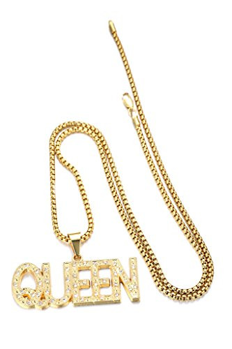 Halukakah in gold we trust mens 18k real gold plated queen letter halukakah in gold we trust mens 18k real gold plated queen letter pendant necklace with free aloadofball Choice Image