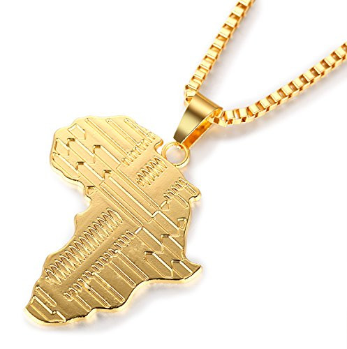 Halukakah AFRICA MAP 18k Real Gold Plated Pendant Necklacewith