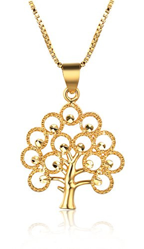 Halukakah gold bless all mens 18k real gold plated gold coin halukakah gold bless all mens 18k real gold plated gold coin tree pendant necklace with free box mozeypictures Images