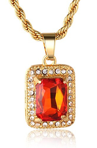 Halukakah gold bless all mens 18k real gold plated ruby pendant halukakah gold bless all mens 18k real gold plated ruby pendant necklace with free rope chain 24 mozeypictures Choice Image