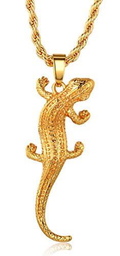 Halukakah little lizard 18k real gold plated lizard pendant halukakah little lizard 18k real gold plated lizard pendant necklace with rope box chain 30 aloadofball Choice Image