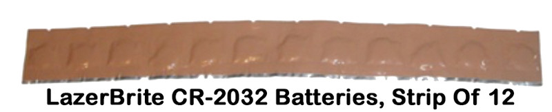 LazerBrite CR-2032  Replacement Batteries, Strip Of 12