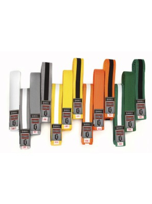Kids Jiu Jitsu Belts available in White, Grey, Yellow, Orange and Green, as well as Grey, Yellow, Orange, and Green with White/Black rank stripes.   Offered in four sizes: 00, 1, A1, and A2.