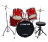 DXP  'Pioneer ' Series Rock Drumkit with Cymbals & Throne    3D Laser Red