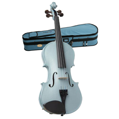 STENTOR   Harlequin Series. 1/2 size violin outfit. Metallic Light Blue.