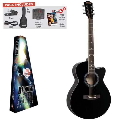 REDDING   Electric/Acoustic Package. Grand Concert Guitar  Black