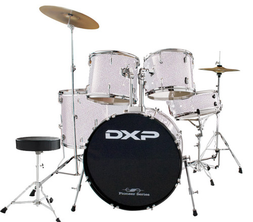 DXP  'Pioneer ' Series Rock Drumkit with Cymbals & Throne    Metallic Silver