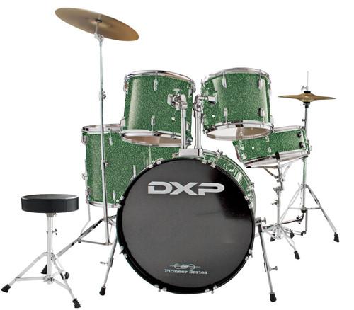 DXP  'Pioneer ' Series Rock Drumkit with Cymbals & Throne     Metallic Emerald Green
